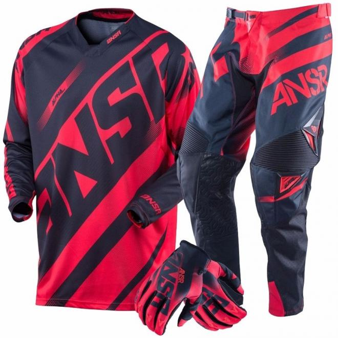 ANSWER ALPHA MX RED BLACK JERSEY AND PANTS AND GLOVES COMBO
