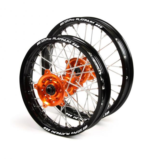 SM PRO KTM 65SX WHEEL SET BLACK/ORANGE [SM PRO KTM 14/12 65SX WHEEL