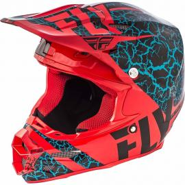 FLY F-2 HELMET FRACTURE BLACK RED