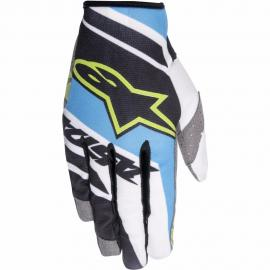 ALPINESTAR 2016 RACER SUPERMATIC GLOVE BLACK CYAN WHITE YELLOW