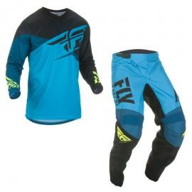 FLY 2019 F-16 YOUTH JERSEY AND PANT COMBO BLK BLUE HIVIS