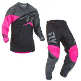 FLY 2019 F-16 YOUTH JERSEY AND PANT COMBO NEON PINK BLK