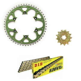 KX250F 06-ON DID VX3 GOLD X-RING CHAIN AND GREEN TALON SPROCKET