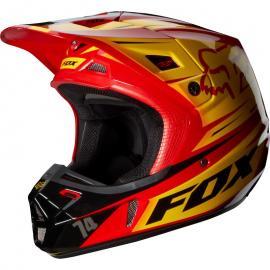 FOX V2 RACE HELMET RED/YELLOW