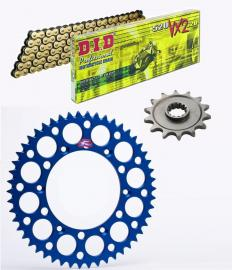 WR250F DID X-RING CHAIN AND BLUE RENTHAL SPROCKET KIT