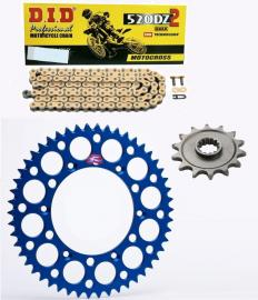 WR250F DID RACE CHAIN AND BLUE RENTHAL SPROCKET KIT
