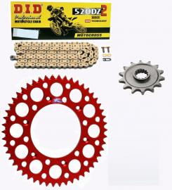 CR125R DID RACE CHAIN AND RED RENTHAL SPROCKET KIT
