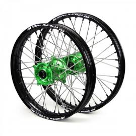 SM PRO KAWASAKI KX450F BLACK/GREEN WHEEL SET